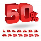 Set of percent discount digits. Vector illustration.