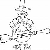 Black and White Pilgrim Turkey Bird Character With A Musket