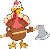 Turkey With Ax Cartoon Mascot Character