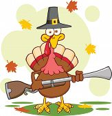 Pilgrim Turkey Bird Cartoon Character With A Musket