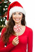 Funny Happy Woman Holding Lollipop
