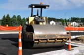 Steamroller At Road Construction Site