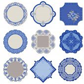 Victorian Tags and Frames - Porcelain Vintage Set - in vector