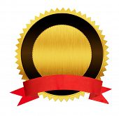 stock photo of medal  - gold seal medal with red ribbon isolated - JPG
