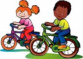 Girl And Boy On The Bikes