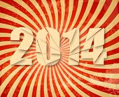2014 Happy New Year retro background. Raster version of vector.