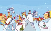 Christmas winter city background funny card
