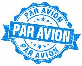 Par Avion Grunge Round Blue Seal