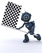3D Render of an Android waving chequered flag