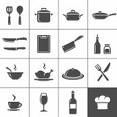 stock photo of ladle  - Restaurant kitchen and cooking icons - JPG
