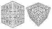 Cage Box Cube Vector