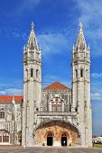 The main attraction of Lisbon - Jeronimos monastery on the bank of the River Tagus. Two slender towe