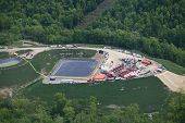 picture of shale  - Aerial view of Marcellus Shale fracking well in Pennsylvania - JPG