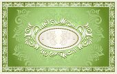 Invitation or frame or label with Floral background in green