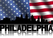 Philadelphia skyline and text reflected with rippled American flag illustration