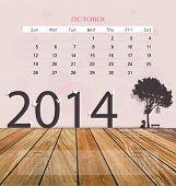 2014 calendar, monthly calendar template for October. Vector illustration.