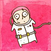 Cosmonaut in a Spacesuit. Cute Hand Drawn Vector illustration, Vintage Paper Texture Background