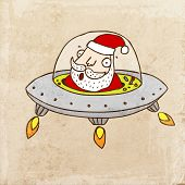 Santa Claus in the Flying Saucer. Cute Christmas Hand Drawn Vector illustration, Vintage Paper Texture Background