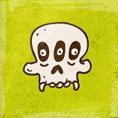 Alien Monster Cartoon Skeleton. Cute Hand Drawn Vector illustration, Vintage Paper Texture Backgroun
