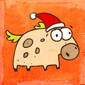 Cartoon Horse with Santa Hat. Cute Hand Drawn Vector illustration, Vintage Paper Texture Background