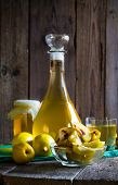 Alcohol Quince Liqueur Sliced Fruit Prepare Wooden Setting