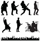 stock photo of guitarists  - musician guitarist singer drummer band crowd bass player - JPG