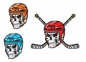 Skull with ice hockey amunition