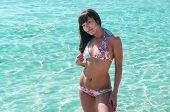 Joyous Slim Woman In Bikini With Beauty Body Standing In Water