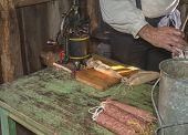 Making Sausage with vintage sausage press
