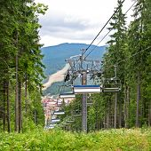 The Chair Lift In The Mountains In Summer
