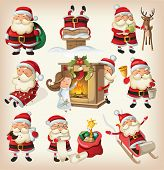 stock photo of mistletoe  - Set of Santa Clauses ready for christmas - JPG