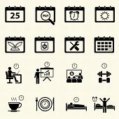 Business Time and Calendar icons set with texture background