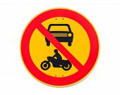 European Round Traffic Sign, The Passage Of Vehicles And Motorcycles Prohibited