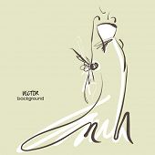 art sketch #7 of beautiful young  bride in white dress and with the bride's bouquet. Vector backgrou