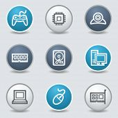 Electronics icons, circle blue buttons