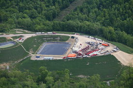stock photo of shale  - Aerial view of Marcellus Shale fracking well in Pennsylvania - JPG