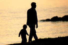 pic of father child  - father and son walking by the sea - JPG