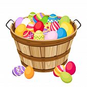Easter colorful eggs in wooden basket. Vector illustration.