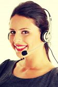 Call center woman with headset.