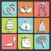 Vector Design Wedding Flat Icons For Web And Mobile