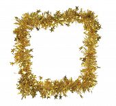 Golden tinsel as a frame.