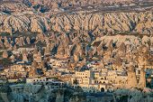 picture of goreme  - Typical landscape with Goreme village and sandstone formations in Cappadocia - JPG
