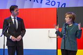 HANOVER, GERMANY - APRIL 7:  Dutch Prime Minister Mark Rutte and German Chancellor Angela Merkel ope