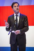 HANOVER, GERMANY - APRIL 7:  Dutch Prime Minister Mark Rutte speeching at the opening of Hannover Me