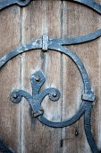 Wooden Door And Wrought Iron Detail On 14Th Century Church