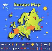 Europe map infographic political map individual states blue green card paper 3D vector