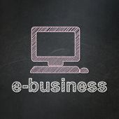 Business concept: Computer Pc and E-business on chalkboard background