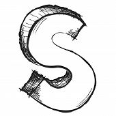 Sketchy Hand Drawn Letter S Isolated On White