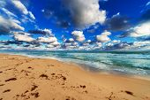 ocean, beach and sky on the sandy beach