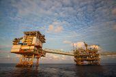 Oil and gas platform in the gulf or the sea, Offshore oil and rig construction Platform